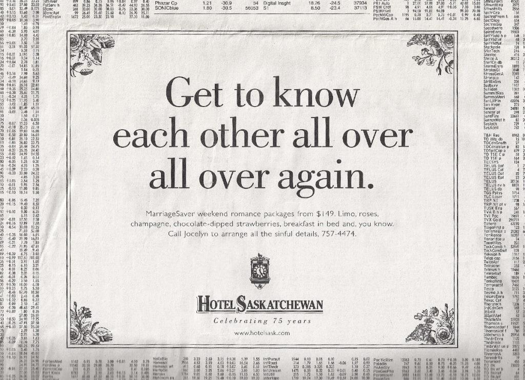 Hotel Saskatchewan Ad